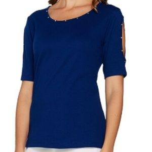 Quacker Factory Rhinestone Split Sleeve T-Shirt